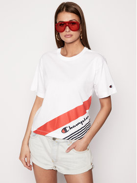 Champion Champion T-Shirt Print 112765 Weiß Regular Fit