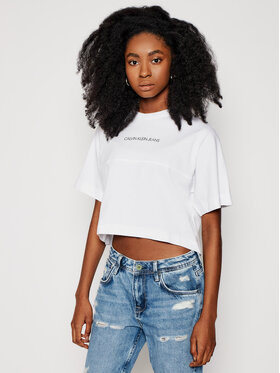 Calvin Klein Jeans Calvin Klein Jeans T-shirt J20J215313 Bijela Cropped Fit