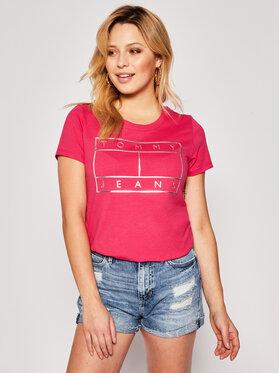 Tommy Jeans Tommy Jeans Póló Metallic Flag Tee DW0DW08063 Rózsaszín Regular Fit