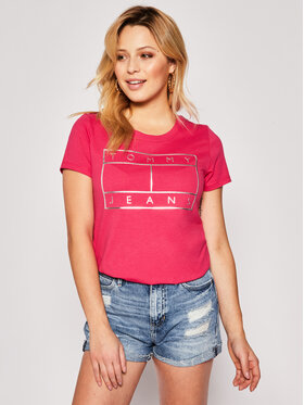 Tommy Jeans Tommy Jeans T-shirt Metallic Flag Tee DW0DW08063 Rosa Regular Fit