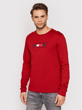 Tommy Hilfiger Tommy Hilfiger Manches longues Four Flags MW0MW20163 Rouge Regular Fit