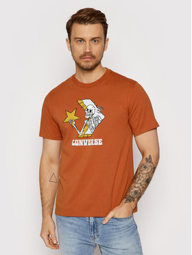 Converse Converse T-Shirt Skull Graphic 10022195-A03 Brązowy Standard Fit
