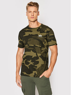 Alpha Industries Alpha Industries T-Shirt Backprint T Camo 128507C Zielony Regular Fit