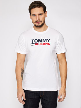 Tommy Jeans Tommy Jeans Marškinėliai Tjm Corp Logo Tee DM0DM10214 Balta Regular Fit