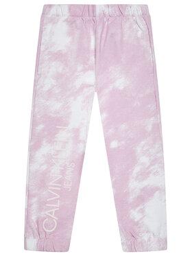 Calvin Klein Jeans Calvin Klein Jeans Teplákové kalhoty Cloud Aop IG0IG00775 Růžová Relaxed Fit