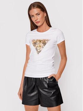 Guess Guess T-Shirt Ghost Leopard Logo W1BI52 KA0Q0 Biały Regular Fit