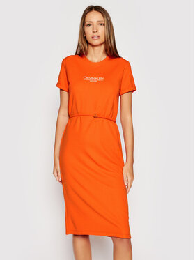 Calvin Klein Calvin Klein Kasdieninė suknelė Logo K20K202805 Oranžinė Regular Fit