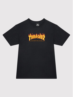 Thrasher Thrasher T-Shirt Flame Logo Czarny Regular Fit