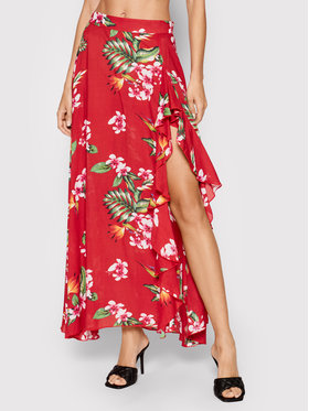 Guess Guess Trapecijos formos sijonas Floral E1GD03 WO05M Raudona Regular Fit