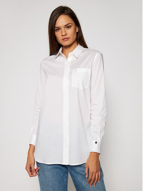Calvin Klein Calvin Klein Camicia Ls Cotton Tunic K20K202414 Bianco Relaxed Fit