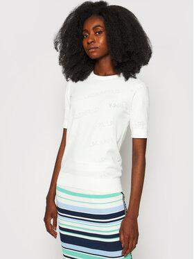 KARL LAGERFELD KARL LAGERFELD Bluse All-Over Logo 215W2000 Weiß Regular Fit
