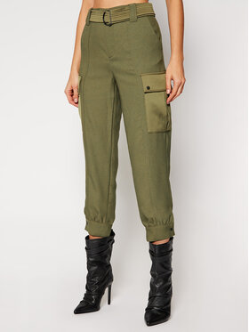 Guess Guess Pantaloni di tessuto W0BB84 WDEL0 Verde Relaxed Fit