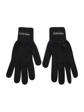 Calvin Klein Calvin Klein Pánske rukavice Felt Patch Knitted Gloves K50K507424 Čierna