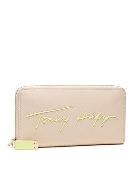 Tommy Hilfiger Tommy Hilfiger Великий жіночий гаманець Iconic Tommy Large Za Sign AW0AW10276 Бежевий