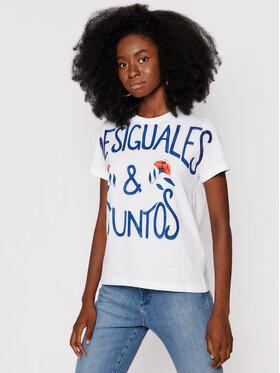 Desigual Desigual T-Shirt Desiguales Juntos 21WWTK46 Bílá Regular Fit