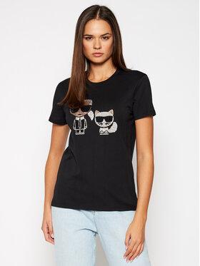 KARL LAGERFELD KARL LAGERFELD T-Shirt Ikonik Rhinestone 205W1708 Černá Regular Fit