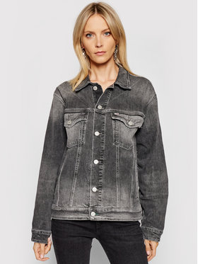 Tommy Jeans Tommy Jeans Džínsová bunda Trucker DW0DW10260 Sivá Oversize