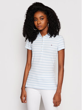 Tommy Hilfiger Tommy Hilfiger Polo Short Sleeve Stripe WW0WW27151 Niebieski Slim Fit