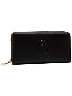 Trussardi Trussardi Portefeuille femme grand format Lisbona Zip 3 Pocket 75W00246 Noir