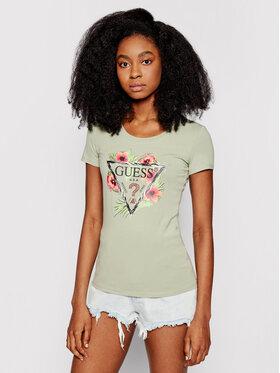 Guess Guess T-Shirt Rebecca W1GI0N J1311 Zelená Slim Fit