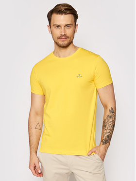 Gant Gant T-Shirt Contrast Logo 2053004 Žlutá Regular Fit