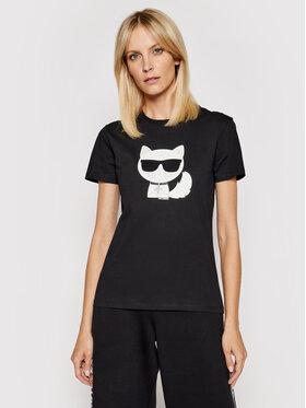 KARL LAGERFELD KARL LAGERFELD T-shirt Ikonik Choupette 210W1723 Crna Regular Fit