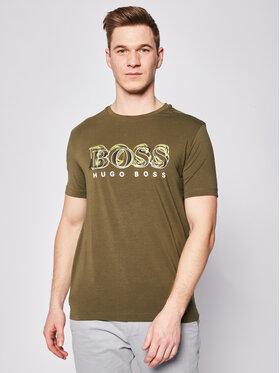 Boss Boss Tricou Tee 4 50424073 Verde Regular Fit
