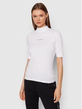 Calvin Klein Calvin Klein Bluzka Mock K20K203114 Biały Slim Fit