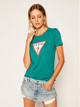 Guess Guess T-shirt Triangle Logo W0YI57 K8HM0 Verde Regular Fit