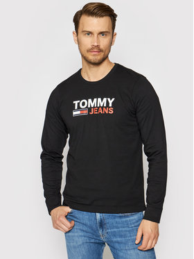 Tommy Jeans Tommy Jeans Тениска с дълъг ръкав Corp Logo Tee DM0DM09487 Черен Regular Fit