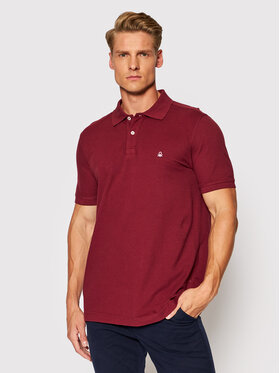 United Colors Of Benetton United Colors Of Benetton Polo 3089J3179 Bordowy Regular Fit