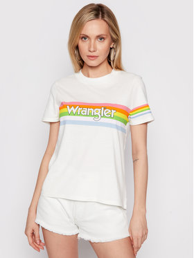 Wrangler Wrangler T-Shirt High Rib W7N9GHW02 Biały Regular Fit