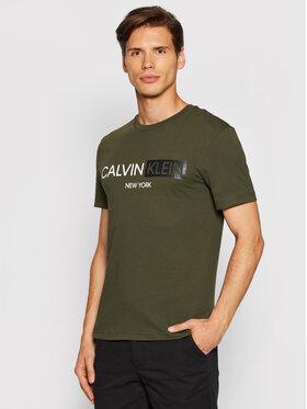 Calvin Klein Calvin Klein T-Shirt Contrast Graphic Logo K10K107256 Zielony Regular Fit