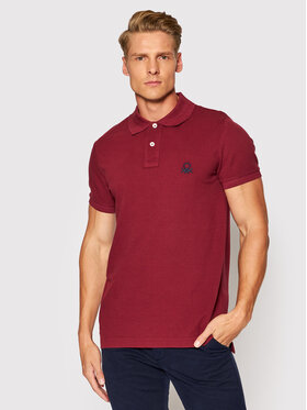 United Colors Of Benetton United Colors Of Benetton Polo 3089J3178 Bordowy Slim Fit