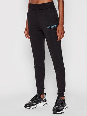 KARL LAGERFELD KARL LAGERFELD Teplákové kalhoty Graphic Logo 215W1051 Černá Slim Fit