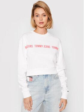 Tommy Jeans Tommy Jeans Mikina Tape Crew DW0DW09793 Bílá Regular Fit