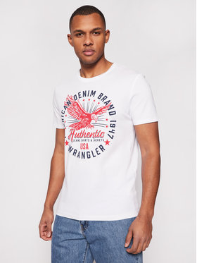 Wrangler Wrangler Marškinėliai Classic Americana W7AHD3989 Balta Regular Fit
