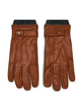 Tommy Hilfiger Tommy Hilfiger Γάντια Ανδρικά Elevated Flag Leather Mix Gloves AM0AM06589 Καφέ