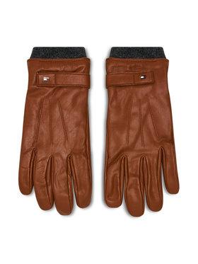 TOMMY HILFIGER TOMMY HILFIGER Gants homme Elevated Flag Leather Mix Gloves AM0AM06589 Marron