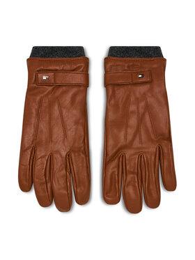 Tommy Hilfiger Tommy Hilfiger Herrenhandschuhe Elevated Flag Leather Mix Gloves AM0AM06589 Braun