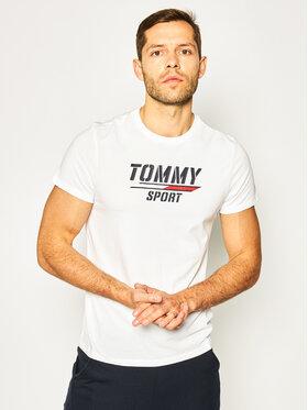 Tommy Sport Tommy Sport Marškinėliai Printed Tee S20S200442 Balta Regular Fit