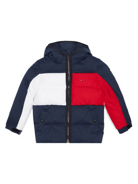 TOMMY HILFIGER TOMMY HILFIGER Daunenjacke Flag Hooded KB0KB05990 M Dunkelblau Regular Fit