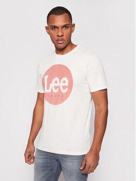 Lee Lee Marškinėliai Circle Tee L64EFQMK Balta Regular Fit