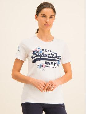 Superdry Superdry T-Shirt V Logo Puff Floral Entry Tee W1000082A Biały Regular Fit