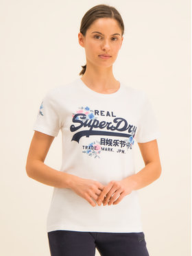 Superdry Superdry Tricou V Logo Puff Floral Entry Tee W1000082A Alb Regular Fit