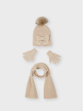 Mayoral Mayoral Zestaw czapka, szalik i rękawiczki 10155 Beżowy
