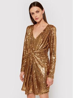 TwinSet TwinSet Φόρεμα κοκτέιλ 211LM28BB Χρυσό Slim Fit