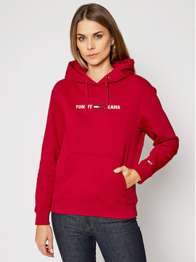 Tommy Jeans Tommy Jeans Суитшърт Linear Logo DW0DW08972 Червен Relaxed Fit
