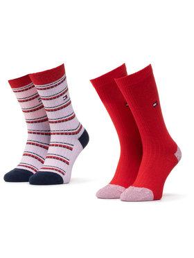 Tommy Hilfiger Tommy Hilfiger Set de 2 perechi de șosete lungi pentru copii 100000814 Roșu