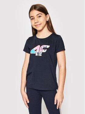 4F 4F Marškinėliai HJL21-JTSD015A Tamsiai mėlyna Regular Fit